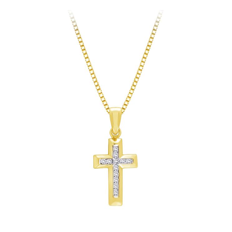 9ct Gold Cross Pendant made with SWAROVSKI® Zirconia
