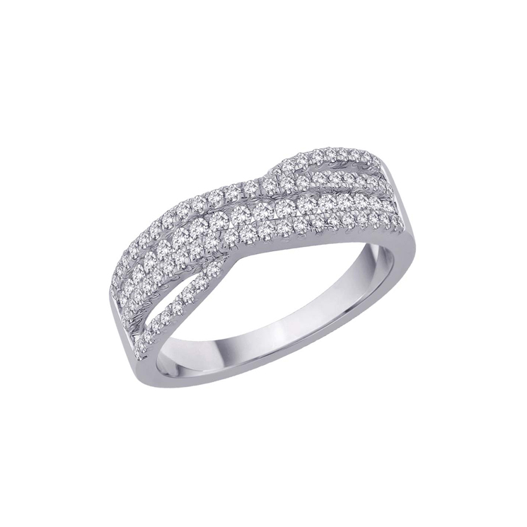 9ct White Gold Diamond Band Ring