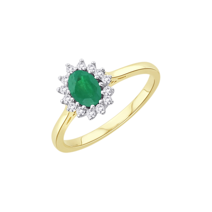 9ct Gold Diamond & Emerald Cluster Ring