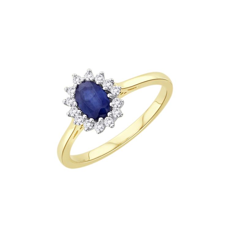 9ct Gold Diamond & Sapphire Cluster Ring