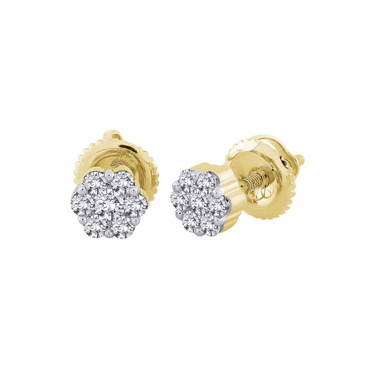 9ct Gold Flower Cluster Stud Earrings made with SWAROVSKI® Zirconia