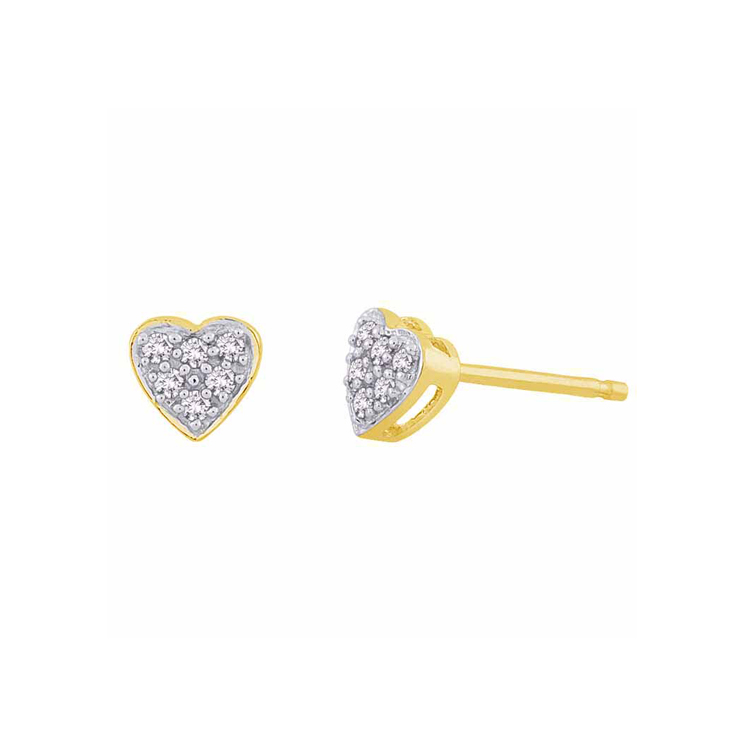 9ct Gold Heart Cluster Stud Earrings made with SWAROVSKI® Zirconia