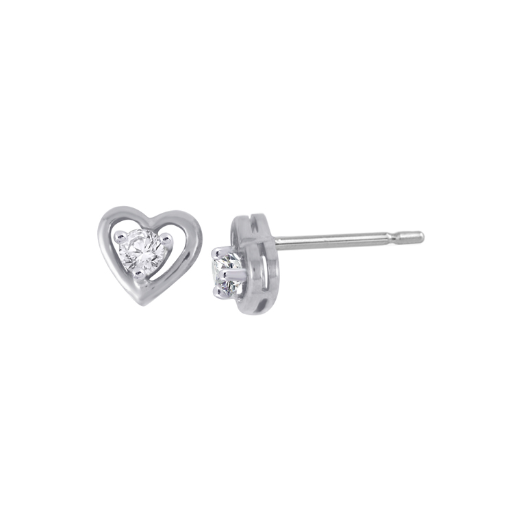 9ct White Gold Heart Stud Earrings made with SWAROVSKI® Zirconia