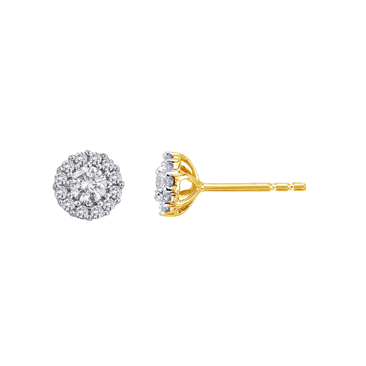 9ct Gold Halo Studs made with SWAROVSKI® Zirconia