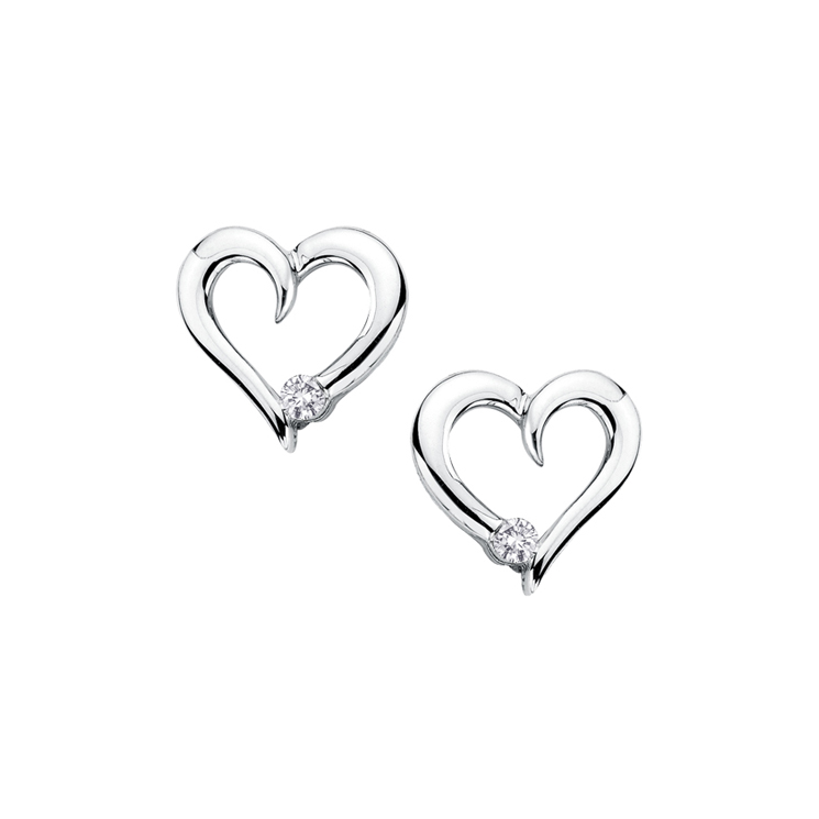 9ct White Gold Heart Cut Out Studs made with SWAROVSKI® Zirconia