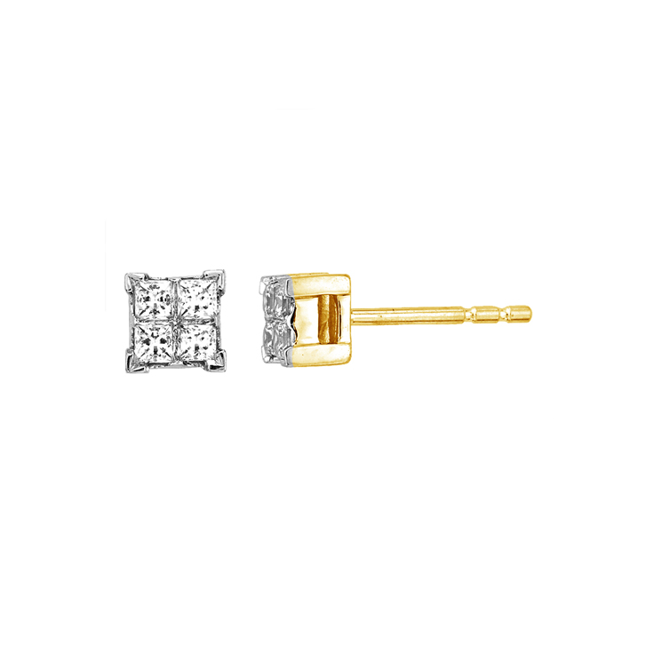 9ct Gold Princess Cut Cluster Studs made with SWAROVSKI® Zirconia