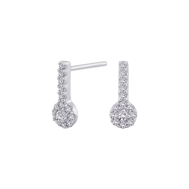 9ct White Gold Cluster Drop Earrings made with SWAROVSKI® Zirconia
