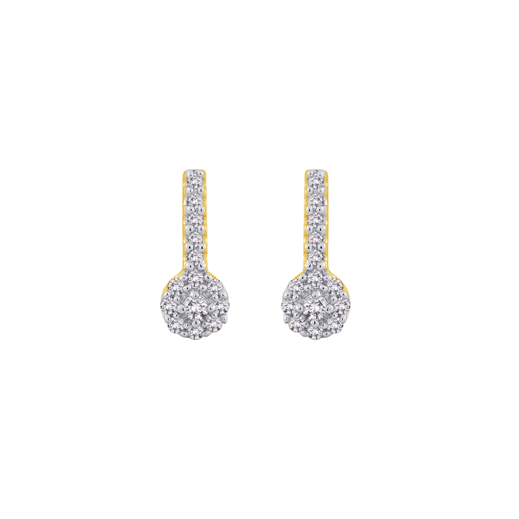 9ct Gold Cluster Drop Earrings made with SWAROVSKI® Zirconia