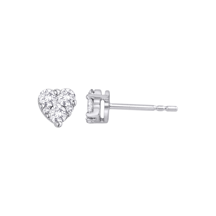9ct White Gold Heart Shape Cluster Studs made with SWAROVSKI® Zirconia
