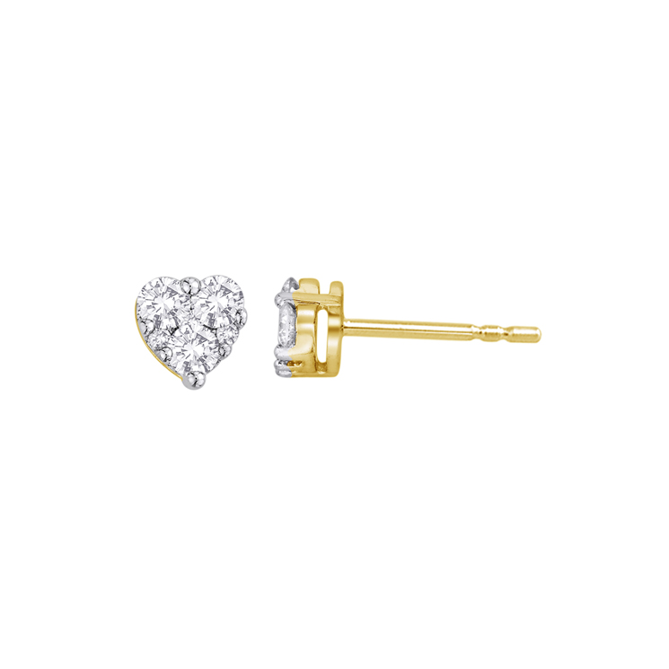 9ct Gold Heart Shape Cluster Studs made with SWAROVSKI®Zirconia