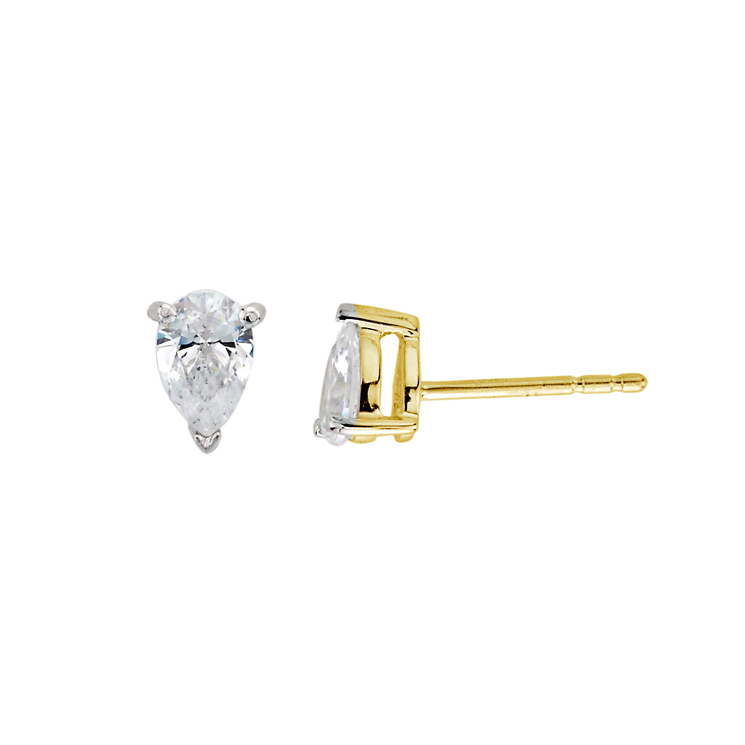9ct Gold Pear Shaped Studs made with SWAROVSKI® Zirconia