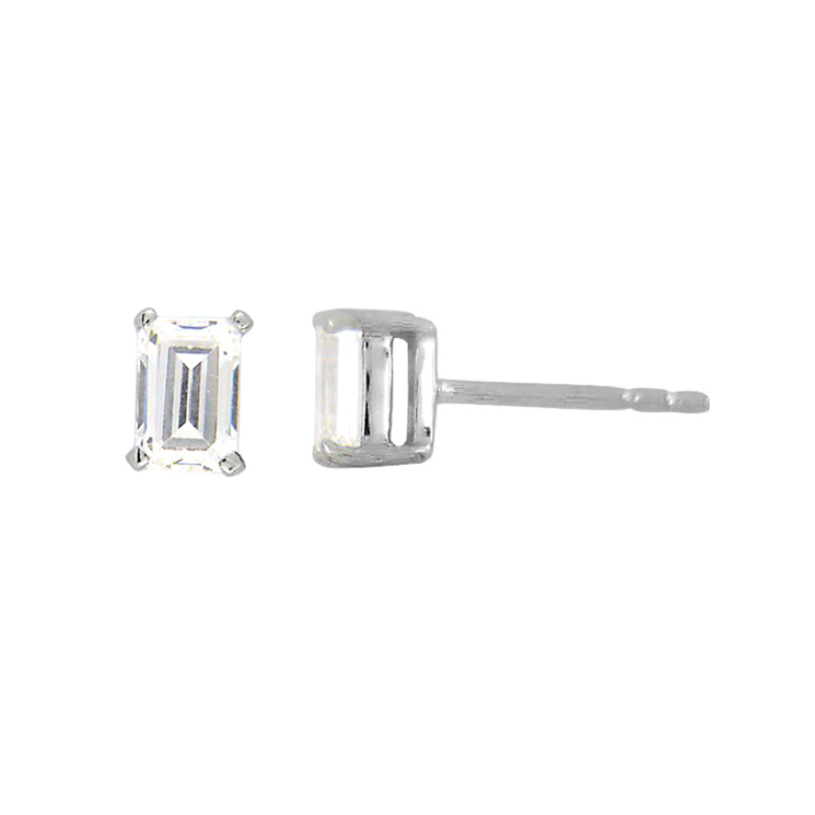 9ct White Gold Emerald Cut Studs made with SWAROVSKI® Zirconia