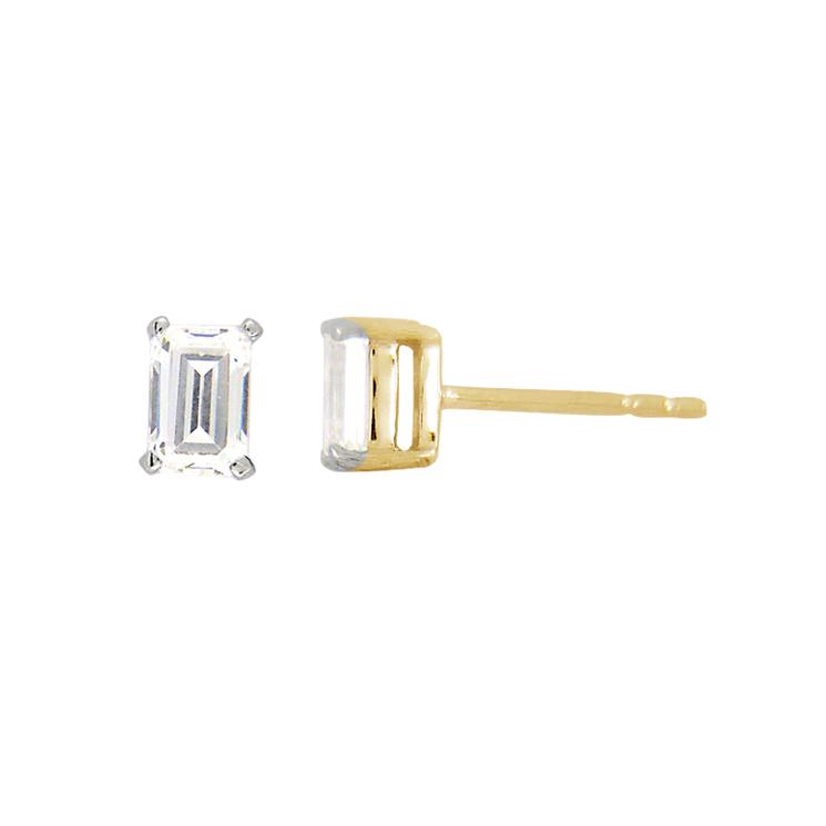 9ct Gold Emerald Cut Studs made with SWAROVSKI® Zirconia
