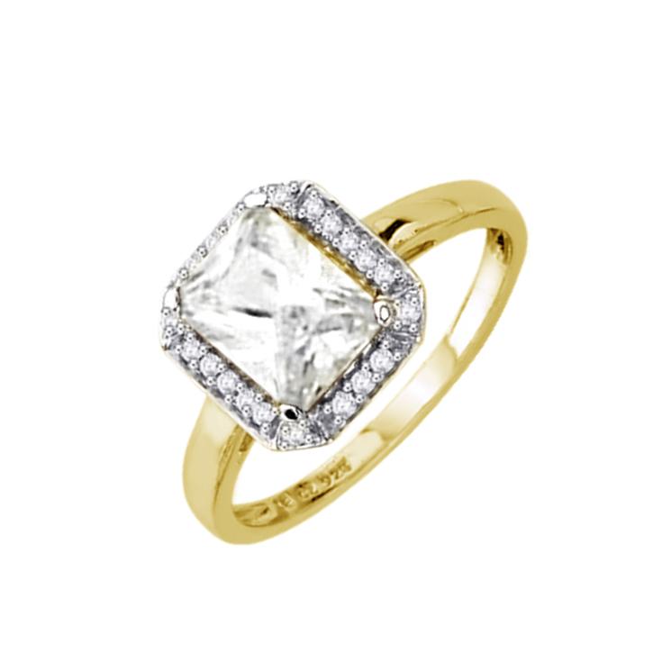 9ct Gold Emerald Cut CZ Dress Ring