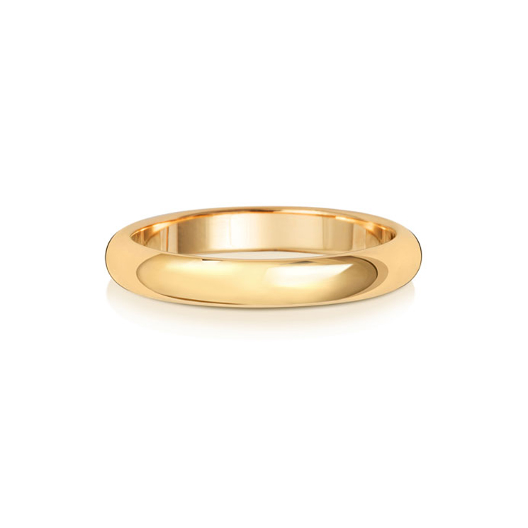 9ct Gold 3mm D Band Wedding Ring
