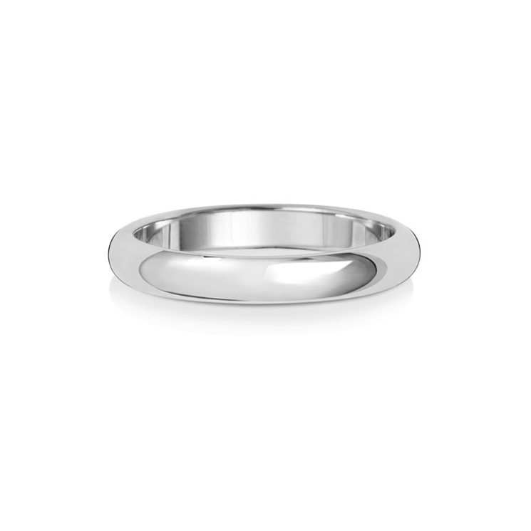 9ct White Gold 3mm D Band Wedding Ring