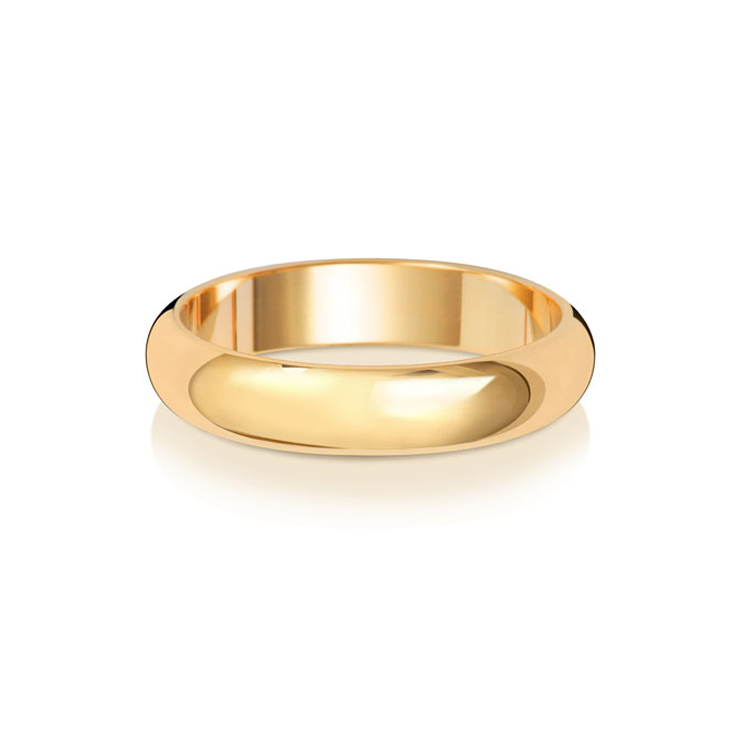 9ct Gold 4mm D Band Wedding Ring
