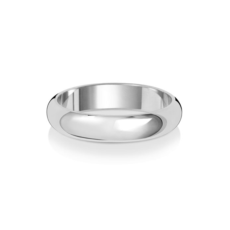 9ct White Gold 4mm D Band Wedding Ring