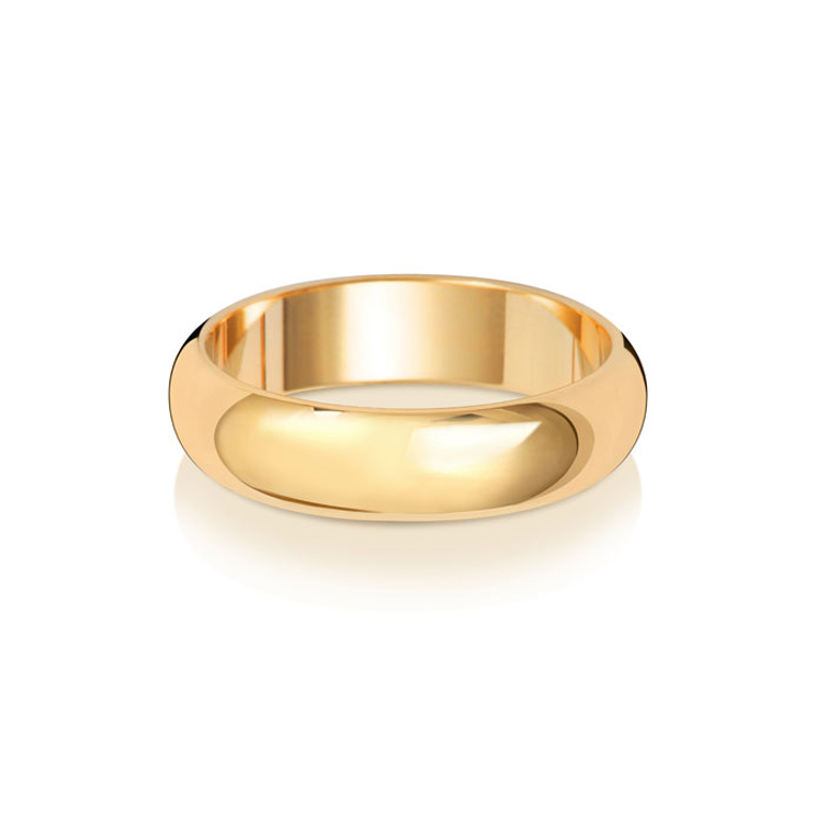 9ct Gold 5mm D Band Wedding Ring