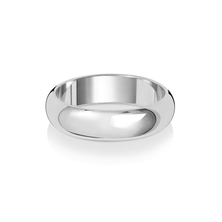 9ct White Gold 5mm D Band Wedding Ring