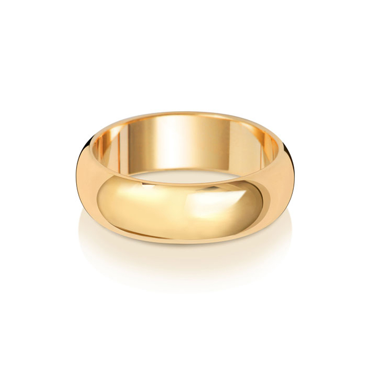 9ct Gold 6mm D Band Wedding Ring