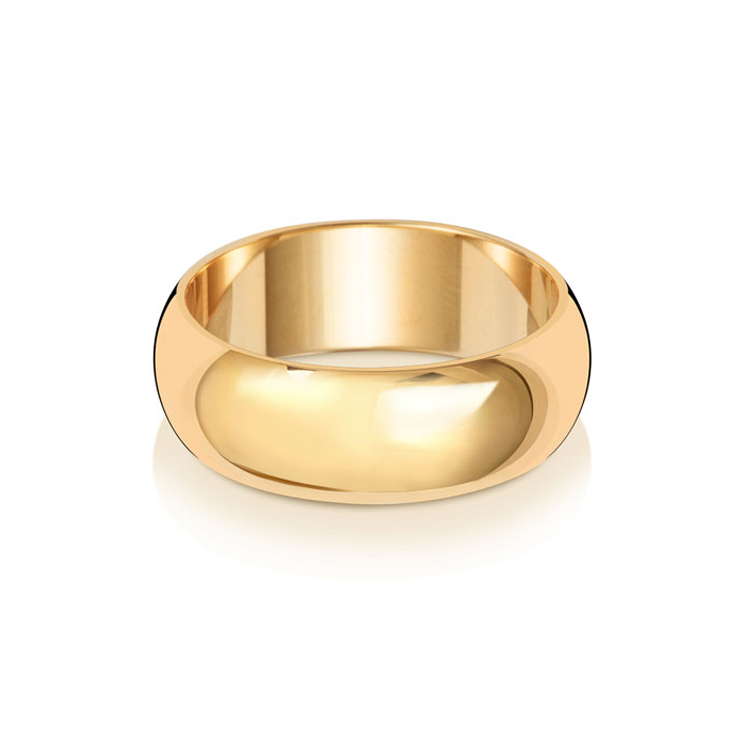9ct Gold 7mm D Band Wedding Ring