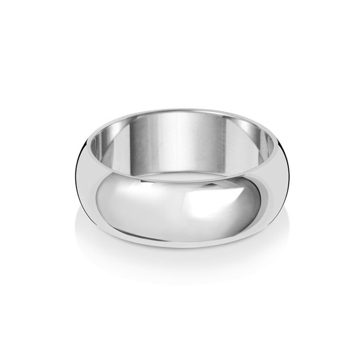 9ct White Gold 7mm D Band Wedding Ring