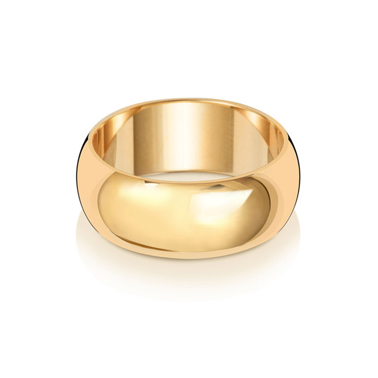 9ct Gold 8mm D Band Wedding Ring