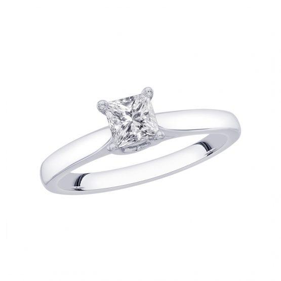 9ct White Gold Diamond Engagement Ring