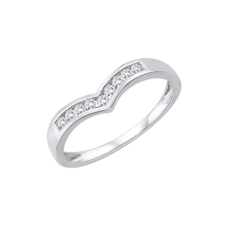9ct White Gold Diamond Half Wishbone Eternity Ring