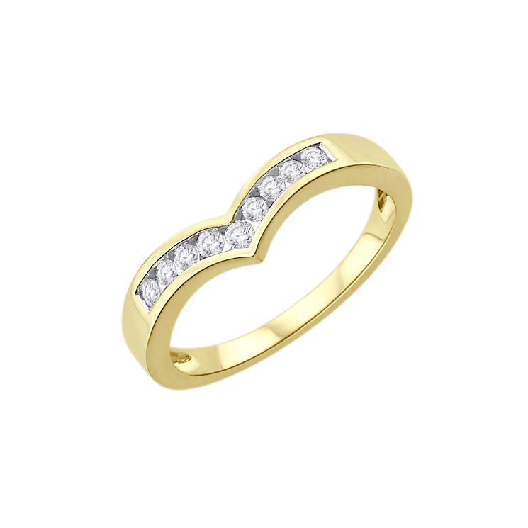 9ct Gold Diamond Half Wishbone Eternity Ring