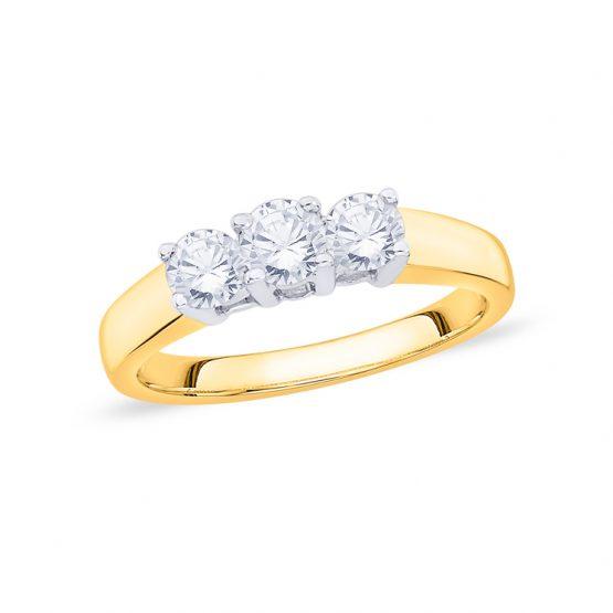 18ct Gold Diamond Trilogy Ring